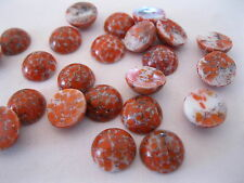 36 Czech. Vintage glass round cabochons in 13mm Coral Matrix/uf.