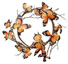 "Monarch Butterfly Wreath Candle Ring Orange Black Brown Home Decor 18"" NEW"