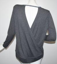 NEW Victoria's Secret Sweatshirt Grey Fine French Terry Open Back High Low TOP S