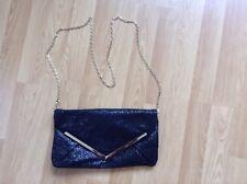 Miss Selfridge Black Sparkle Clutch Bag with Removable Gold Chain - VGC
