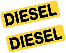 2x Reminder Diesel Fuel Printed Vinyl Stickers BLACK on YELLOW 80mm Car Van Taxi