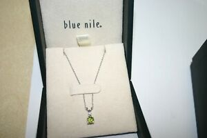 """BLUE NILE 18K White Gold & PERIDOT Pendant with DIAMOND Accent & NECKLACE 18"""""""