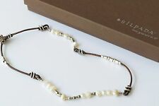 Silpada Sterling Silver Button Clasp Leather Freshwater Pearl Necklace N1063
