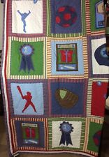 Pottery Barn Kids Sports TWIN Quilt Blanket Bed Cover 68x84 Boys