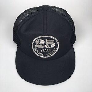 Vintage GENERAL MOTORS GM 25 Years USA Made Adjustable Trucker Hat Cap BLACK