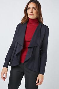 Womens Navy Asymmetrical Textured Waterfall Open Front Jacket UK Size 8 10 12 14