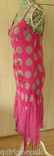 DERHY designer hot pink & aqua viscose layered boho sequin dress M 12 40 NEW