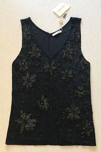 Chelsea Design Black Beaded Sequin Embellished Tank Top Singlet Size L