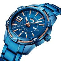 Blue BIDEN Luxury Brand Military Sport Men Watch Quartz Stainless Steel Date