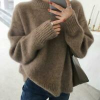 Winter Womens Lazy Loose Cashmere Mohair Wool Soft Jumper Pullover Sweaters Tops