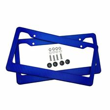 Car Carbon Fiber Blue Front Rear License Plate Frame Cover with Screws Caps 2pcs