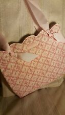 Beautiful longaberger Pink & White Hope breast cancer Awarness Cloth Bag