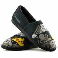 Mens Boys Warm Fleece Lined Slippers Pokemon Cotton Slip On Loafers Shoes Size