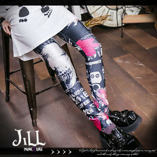 street punk visual art virtual reality X-ray floral 3D print leggings【J1M2035】