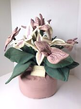 Vintage Purple Thumb Plants Handcrafted Fabric Faux Stargazer Lily Flower Spray
