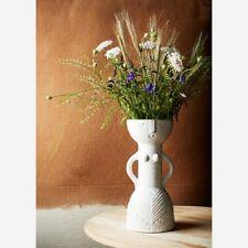 Fran Woman Vase, White Beige with Arms, Lady Face Design Stoneware Retro Scandi