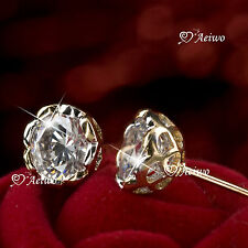 18K YELLOW WHITE GOLD GF MADE WITH SWAROVSKI CRYSTAL ROUND STUD DANGLE EARRINGS
