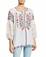 Johnny Was Allegra Peasant Blouse S White Floral Bohemian Embroidered NWT
