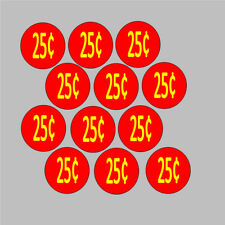 12 Price Stickers Red Vending Machine Candy Stickers Label .25 Cent Free Ship