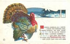 Thanksgiving Joy Postcard Embossed 1916 Stegher Cooble Gooble Turkey