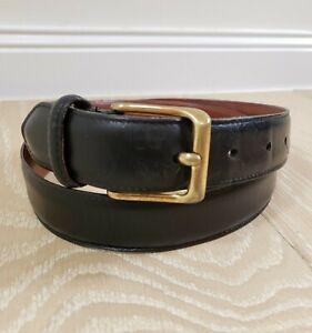 COACH Men's Black Dress Belt Leather Brass Buckle USA 34 Waist Model #5950