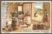 German Swiss Alps Peasants Churning Butter Une Laiterie 1903 Trade Ad Card g
