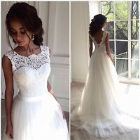 New Lace Tulle White/ivory Wedding dress Bridal Stock size: 6-8-10-12-14-16-18
