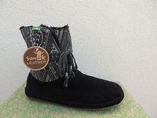 SANUK BLACK SOULSHINE CHILL SUEDE FAUX FUR ANKLE BOOTS, SIZE US 5/ EUR 36 ~NIB
