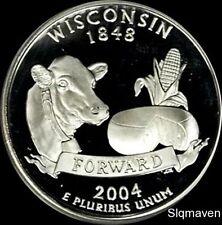 2004 S 90% Silver Wisconsin State Quarter Deep Cameo Gem Proof No Reserve