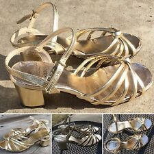 Vintage Kinney Strappy Gold Ankle Strap Sandals Heels 5 B Kinney Shoes 50s 60s ?