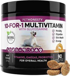 PetHonesty 10 in 1 Dog Multivitamin with Glucosamine - Essential Dog Vitamins wi