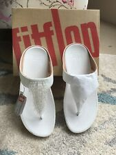 BNIB Genuine Fit Flops. White With Jewel Cascade At Front. 5.