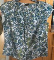 ANN TAYLOR Blue Lime White Floral Print Shirt Top Blouse Size Small Career
