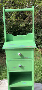 Hand Made And Hand Painted Retro Rustic Wood Storage Cabinet w/2 Drawers