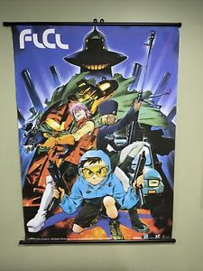 Vintage 1999 FLCL Folly Cooly Anime Poster Banner - Fabric Roll-up - Wall Art