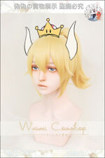 Bowsette Princess Bowser Peach Blonde +Ponytail Costume Cosplay Hair Wig +Track