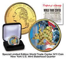WORLD TRADE CENTER 9/11 HOLOGRAM USA MINT NEW YORK 24 KARAT GOLD COIN-VELVET BOX
