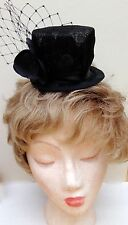 Black Sinamay, Mini Top Hat, with black orchid