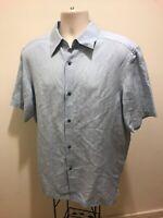 Axcess Men's Button-up Short Sleeve Shirt, size L blue