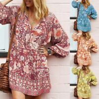 Women Long Loose Sleeve Printed V-Neck Ethnic Boho Casual Mini Dress SundressCA