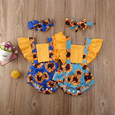 Newborn Baby Girl Sleeveless Sunflower Romper Tops Jumpsuit Outfit Clothes