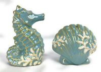Pfaltzgraff Beachcombers Seahorse and Shell Salt and Pepper Shakers Ocean Decor