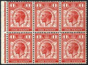 1929 KGV PUC 1d Scarlet Booklet Pane U/M SG 435b, Spec NComB2