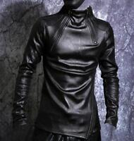 Mens Leather Slim Long Sleeve Pullover Shirt Coat Punk Thick Fleece Warm Jackets