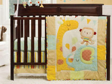 Full Crib Size Graco Jungle Friends Quilt Per Sheet Bedskirt Bedding Set