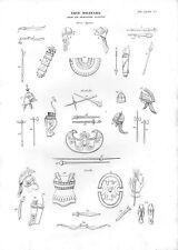 Stampa antica ARMI ARMATURE ELMI Greci Egiziani Asiatici 1848 Old print