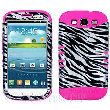 For Samsung Galaxy S 3 III S3 Hybrid Pink Impact Soft Cover Zebra Skin Hard Case