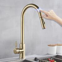 Brushed Gold Kitchen Sensor Sensitive Touch Control Tap Kitchen Sink Faucet