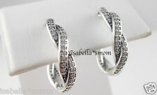 TWIST OF FATE Genuine PANDORA Silver/Zirconia EARRING Hoops 290576CZ NEW w POUCH