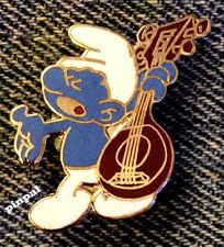 Smurf Brooch Pin~Peyo~with Lute~Vintage 1980~Cloisonne~NOS~New Old Stock